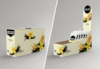 Side View Shelf Box with Snack Packets Packaging Design Mockup