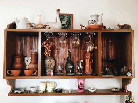 A beautiful shelf in kitchen