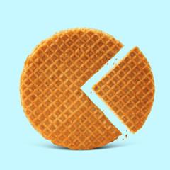 Waffle with caramel isolated on blue background