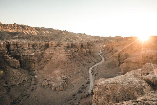 last light above charyn canyon, kazakhstan