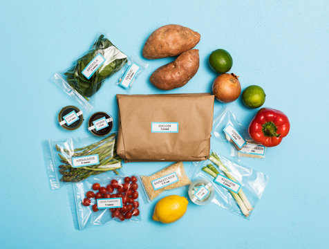 Overhead Of Ingredients For Packaged Healthy Meal Kit