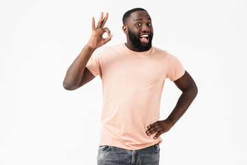 Portrait of a happy excited african man wearing t-shirt