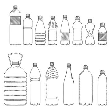 Vector Sketch Set of Plastic Bottles