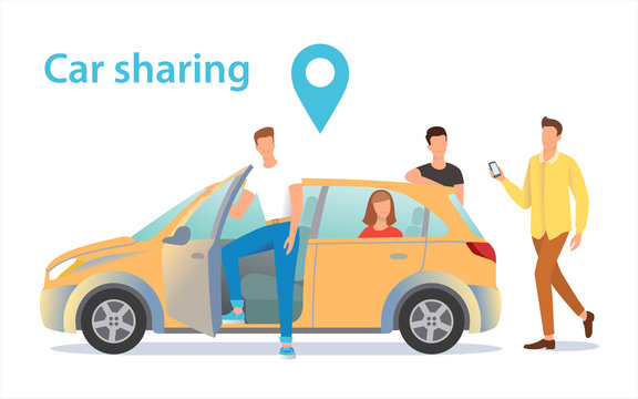 Car sharing illustration. A group of people near the car waiting for a fellow traveler.