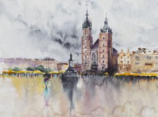 Główny plac Starego Miasta w Krakowie, Polska malowane akwarele. Kraków jest drugim co do wielkości i jednym z najstarszych miast w Polsce. - 268872263