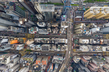 Fototapete -  Drone fly over Hong Kong commercial district