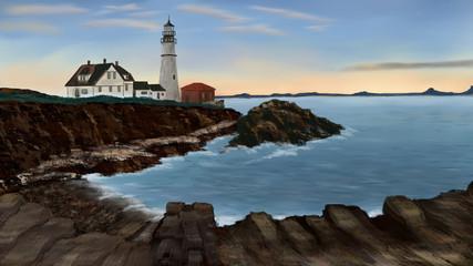 Digital paint the Cape Elizabeth Maine Coast with a lighthouse
