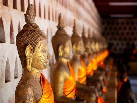Detail of Buddha statue, wat si saket. Laos