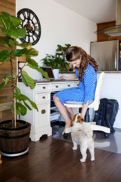 Self Employed Woman Working at Home And Her Dog
