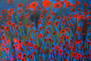 A bold oil painting of poppies in red and blue