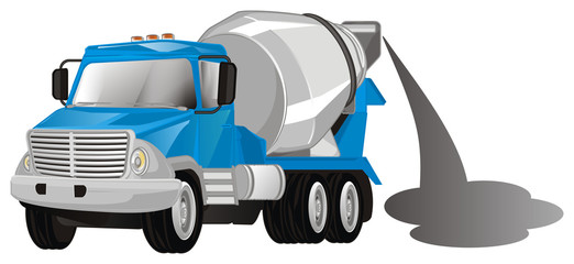 cement truck with gray cement