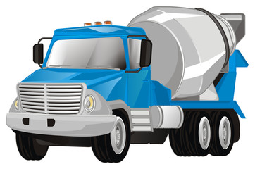 cement truck on white background