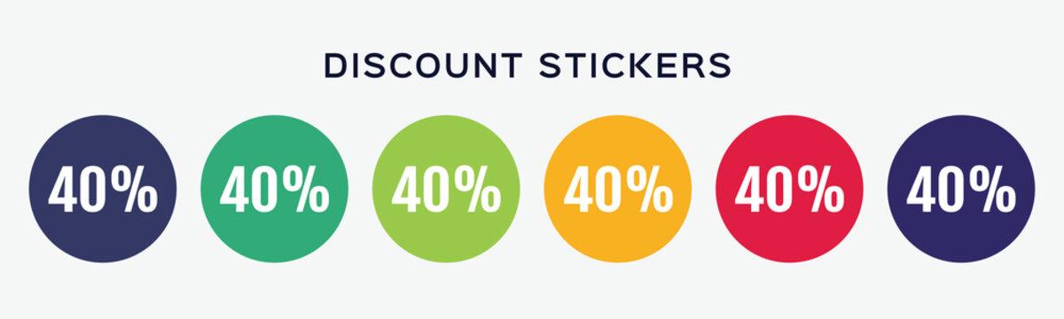 40% off sale discount sticker. Round promotion sale set. Offer 40 percent  price vector illustration.
