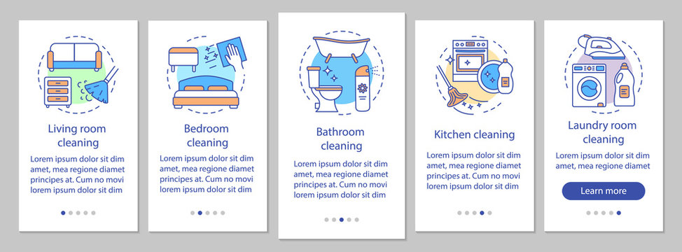 Home cleaning onboarding mobile app page screen, linear concepts