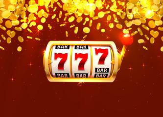 Golden slot machine wins the jackpot. Piles of gold coins.