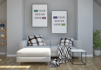 2 Vertical Frames in Modern Living Room Mockup