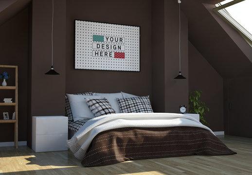 Horizontal Frame in Modern Bedroom Mockup