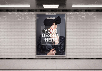 Vertical Subway Billboard Mockup
