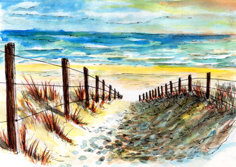 watercolor hand-painted beach and dune with copy space