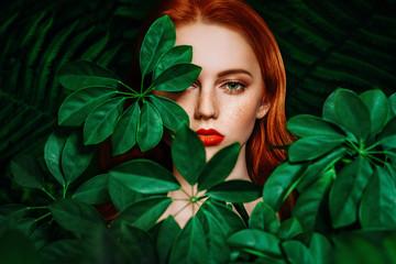 through green leaves