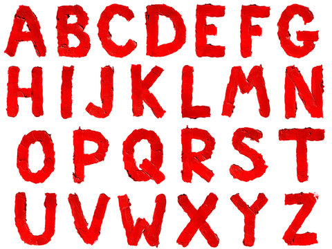 Handwritten english capital letters alphabet made of smudged red lipstick isolated on white background