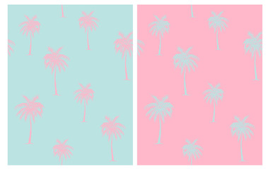 Vintage Style Palm Trees Seamless Vector Pattern. Mint Green and Light Pink Tropical Design for Textile, Wrapping Paper, Aloha Party Decoration. Pink Hand Drawn Palms Isolated on a Blue Background.