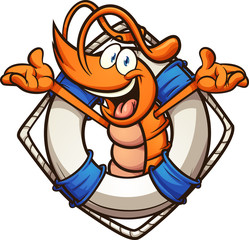 Happy cartoon shrimp coming out of lifesaver clip art. Vector illustration with simple gradients. All in a single layer.