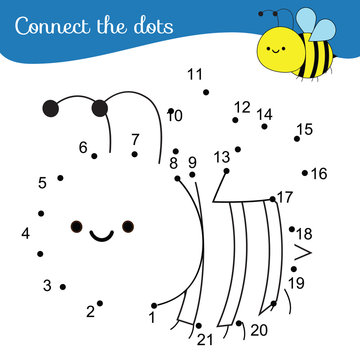Connect the dots. Dot to dot by numbers activity for kids and toddlers. Children educational game. Cartoon bee