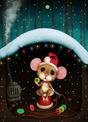 Fantasy winter holiday greeting card with with  little mouse makes beads from buttons in Mouse hole.