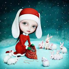 Fantasy winter holiday greeting card with Snow Maiden and little bunny.