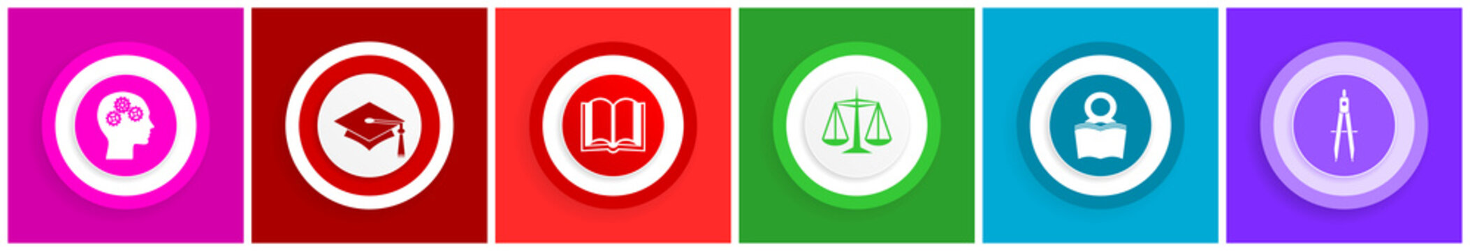 Education flat design colorful vector icons, set of school and science symbols in eps 10