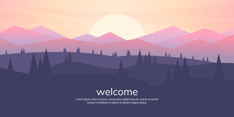 Fototapete - Vector minimalistic landscape. Mountains and woods. Polygon concept. flat style Abstract background. Panoramic wallpapers