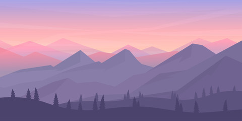 Photo sur Toile Lavende Vector minimalistic landscape. Mountains and woods. Polygon concept. flat style Abstract background. Panoramic wallpapers