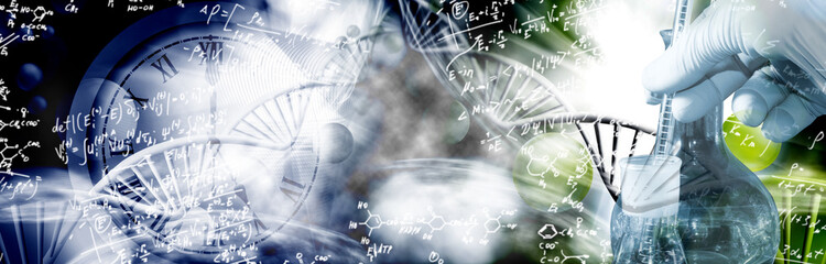 image of dna chain and chemical flasks on biotechnological background
