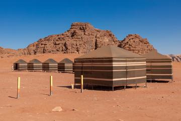 Bedouin's desert camp, Wadi Rum desert in Jordan, Middle East.