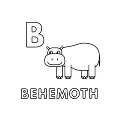Vector Cute Cartoon Animals Alphabet. Behemoth Coloring Pages