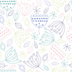 Fototapete - Seamless vector floral background
