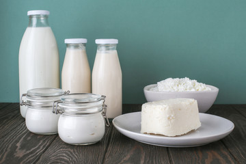 Aluminium Prints Dairy products dairy products, farm products, milk, yogurt, cottage cheese, butter
