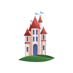 Stone kingdom knight castle with blue windows and red roof