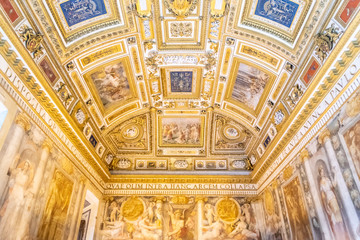Picturesque decoration of pope apartment in Castel Sant Angelo, or Hadrian Mausoleum, Rome, Italy