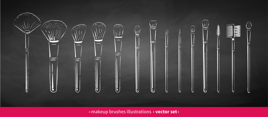 Chalk drawn vector set of makeup brushes Wall mural