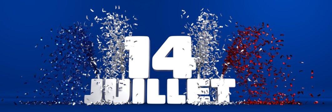 14 juillet, fête nationale Française, texte sur fond bleu