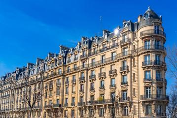 Paris, beautiful building, typical parisian facade boulevard Pereire Wall mural