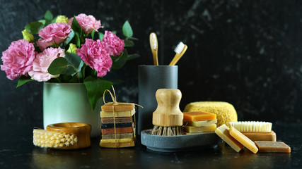 Zero-waste, plastic-free household concept, with reusable bathroom and toiletries products for eco-friendly lifestyle.