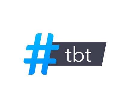 Tbt hashtag thursdat throwback symbol. Vector stock illustration.