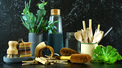Zero-waste, plastic-free kitchen and household with coconut fiber, bamboo and reusable products for eco-friendly lifestyle.