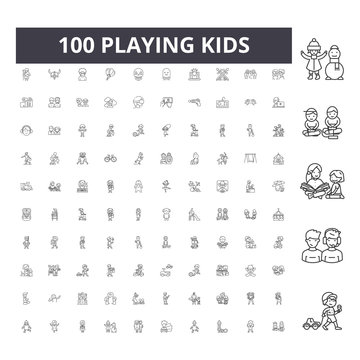 Playing kids line icons, signs, vector set, outline concept illustration