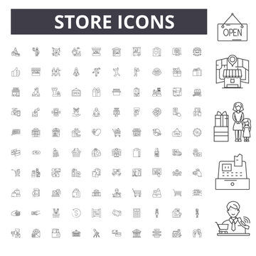 Store line icons, signs, vector set, outline illustration concept