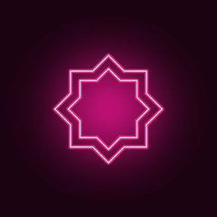 Eight point star neon icon. Elements of Religion set. Simple icon for websites, web design, mobile app, info graphics