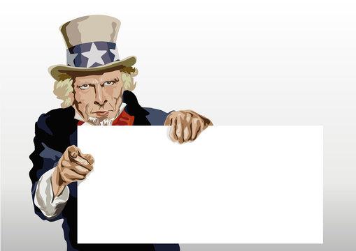 Concept du leadership américain avec le portrait de l'Oncle Sam présentant une panneau blanc pour inscrire et faire passer un message.
